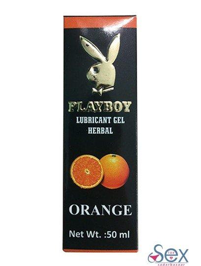 Playboy Lubricant Water Based Gel ??? Orange Flavoured-sextoyinsadarbazaar.com